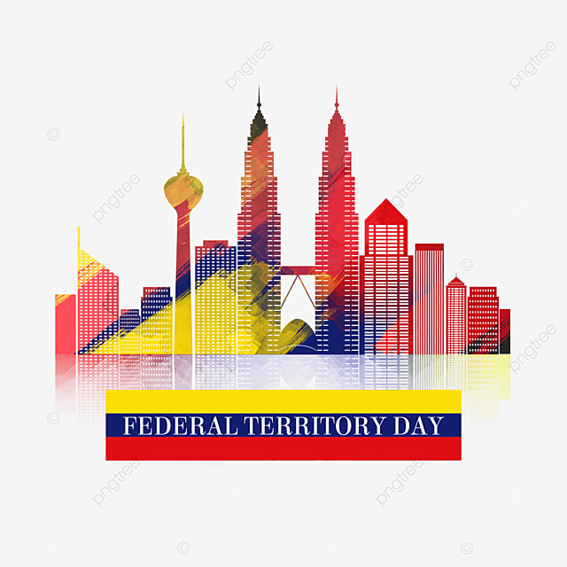 malaysia federal territory day colored brush city silhouette