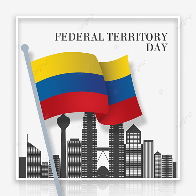 malaysia federal territory day colored flag city silhouette