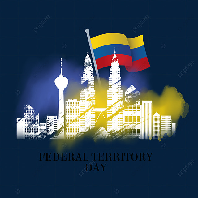 malaysia federal territory day purple and yellow smudged city silhouette