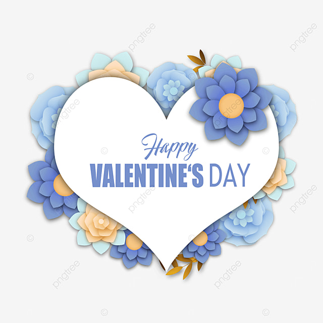 valentines day blue floral border