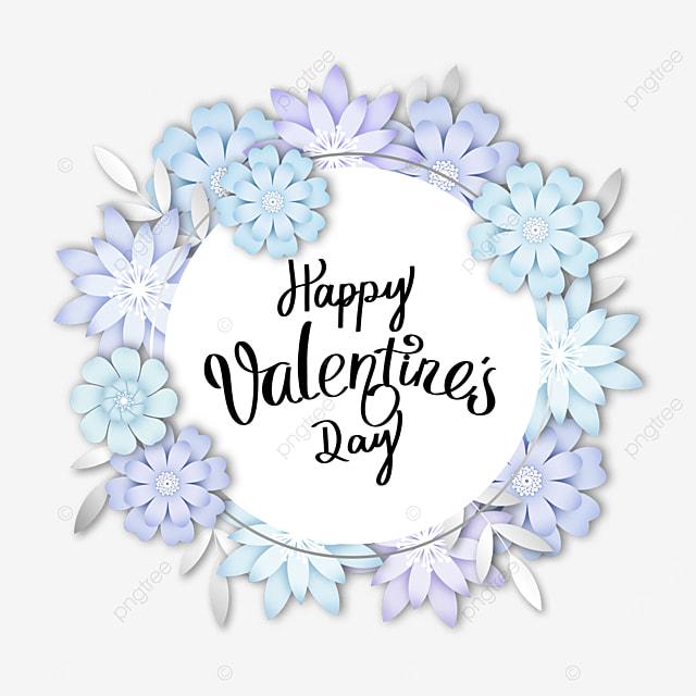 valentines day blue floral round border