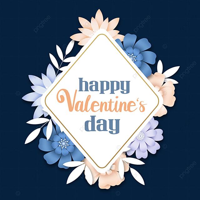 valentines day floral border blue