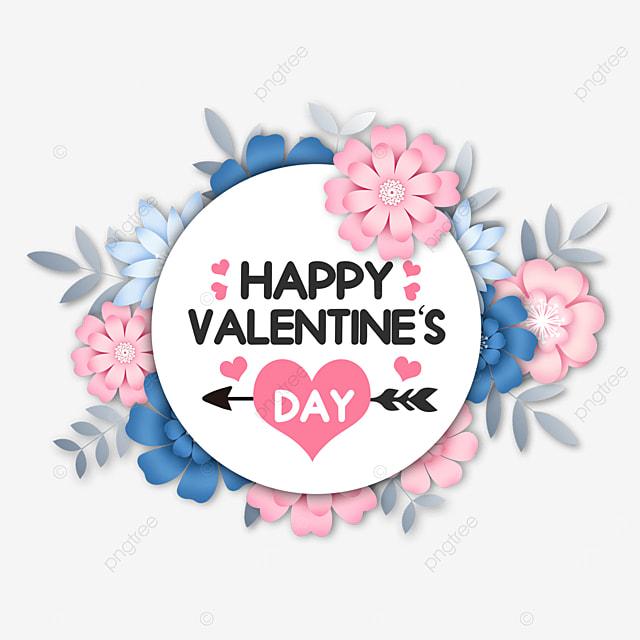 valentines day floral round border