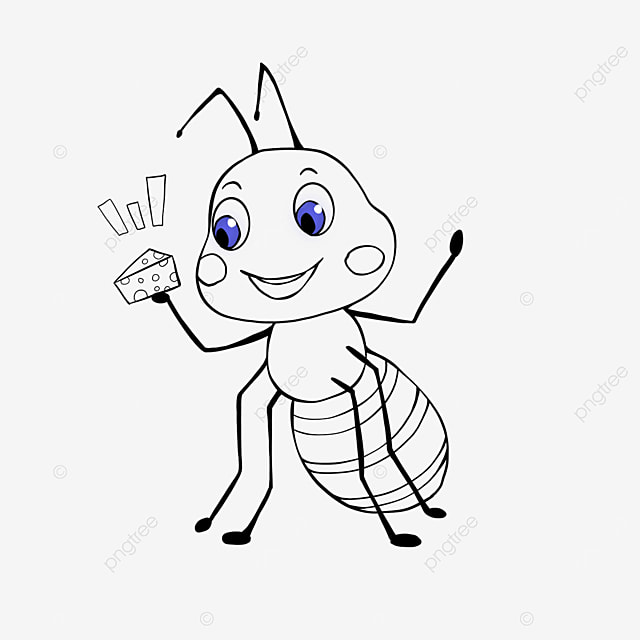 ant holding food clipart black and white