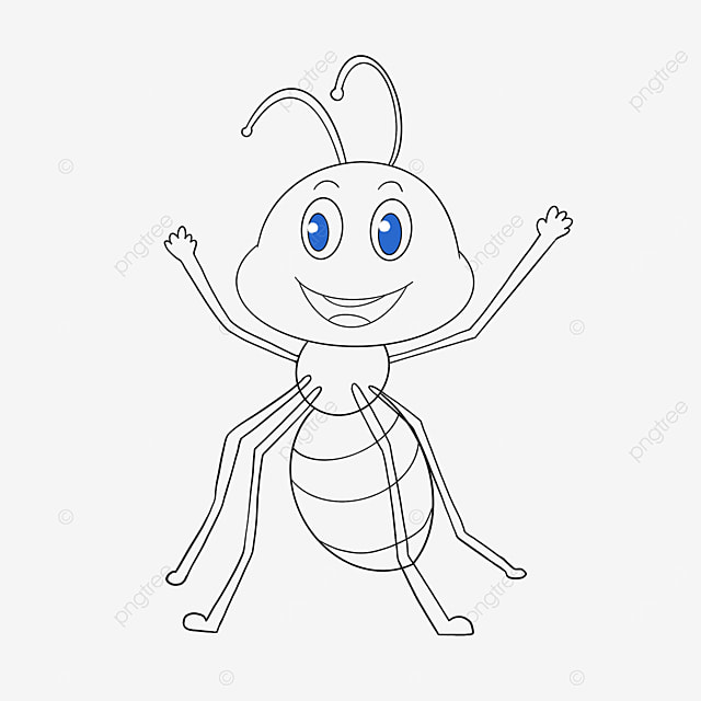 ant waving hand clipart black and white