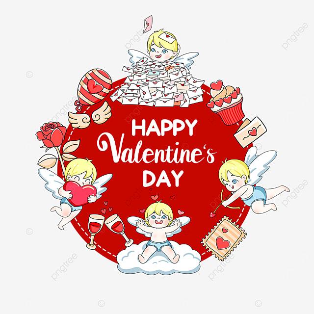 balloon wine glass rose love heart valentine cupid label