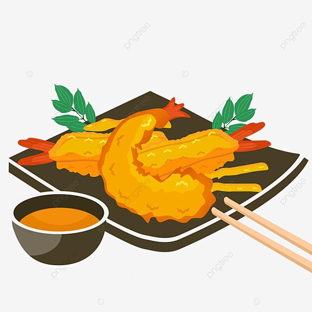 black plate japanese tempura delicious shrimp golden yellow