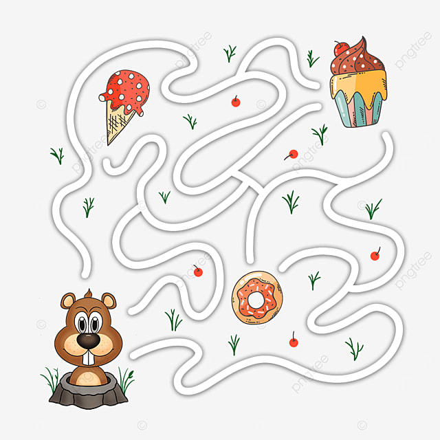 cartoon animal gopher cake maze