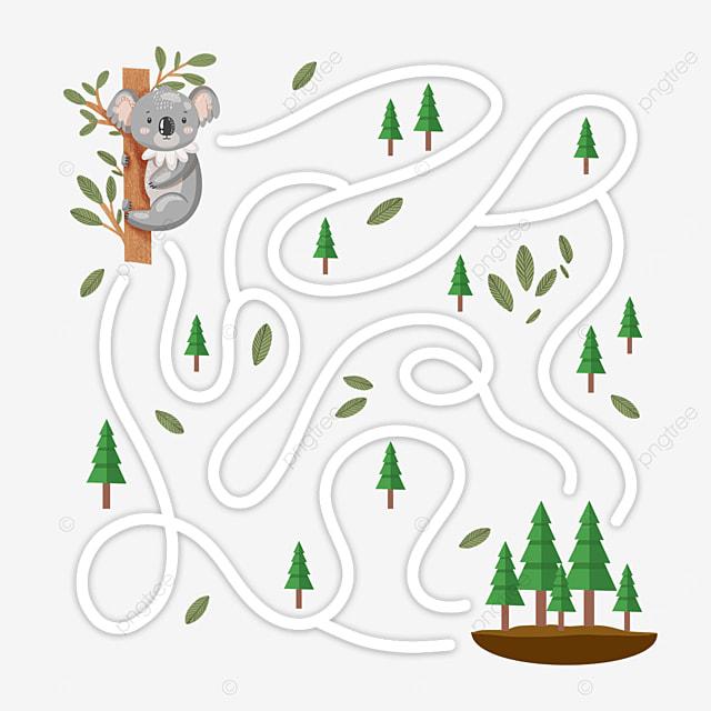 cartoon cara tree climbing maze woods