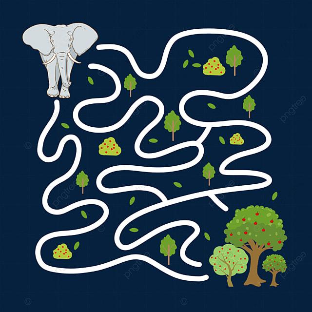 cartoon elephant forest maze line