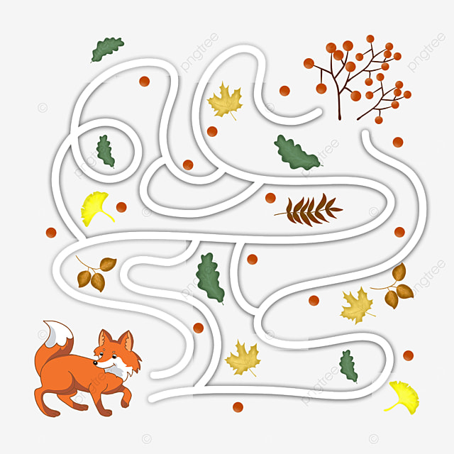 cartoon fox maze fruit road