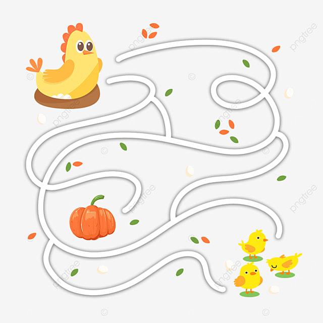 cartoon hen chick maze drawing