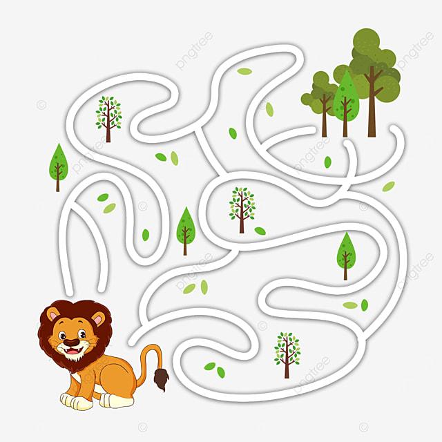 cartoon lion forest green leaf maze