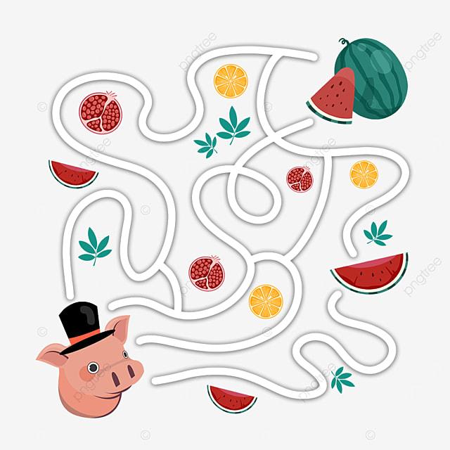 cartoon pig maze watermelon cut open