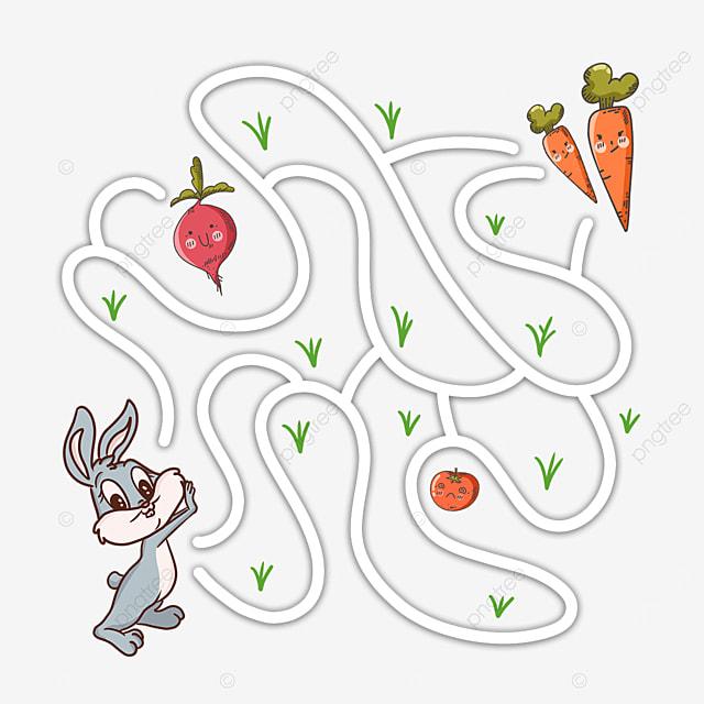 cartoon rabbit carrot maze