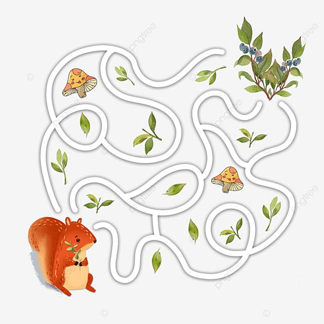 cartoon squirrel fruit maze