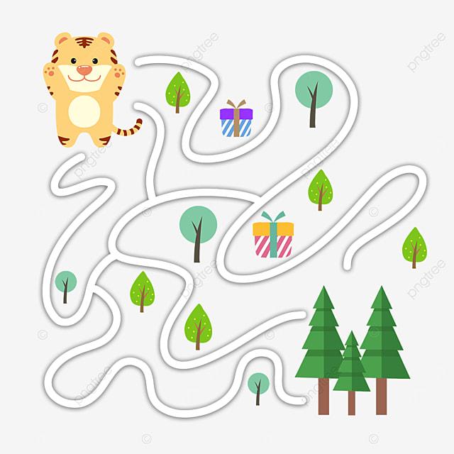 cartoon tiger trees maze bending