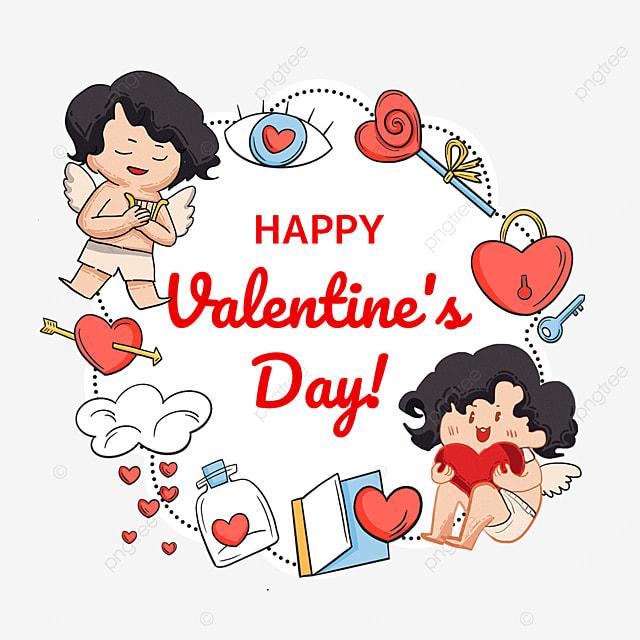 cupid love lock key cloud bottle valentine day label