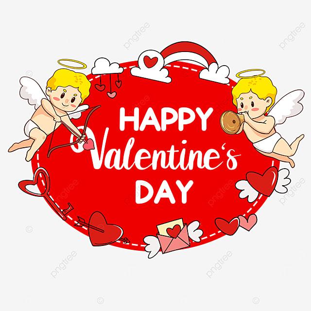cute cupid valentines day love rainbow envelope tag