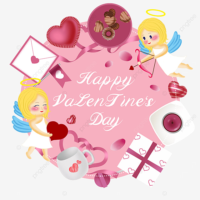 envelope love gift box cupid valentines day label