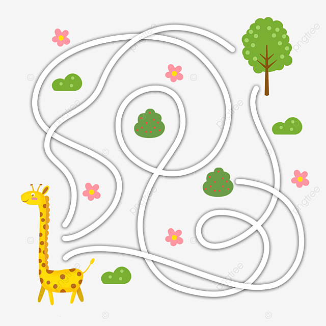 giraffe cartoon animal maze line