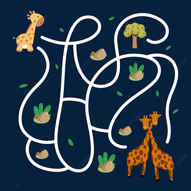 giraffe family cartoon maze animal