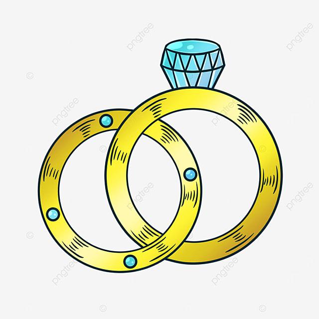 golden cartoon style diamond ring