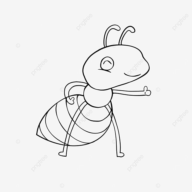 happy ants clipart black and white