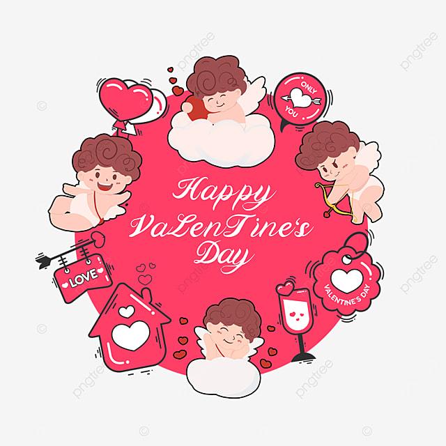 house balloon wine glass cupid love heart valentine label