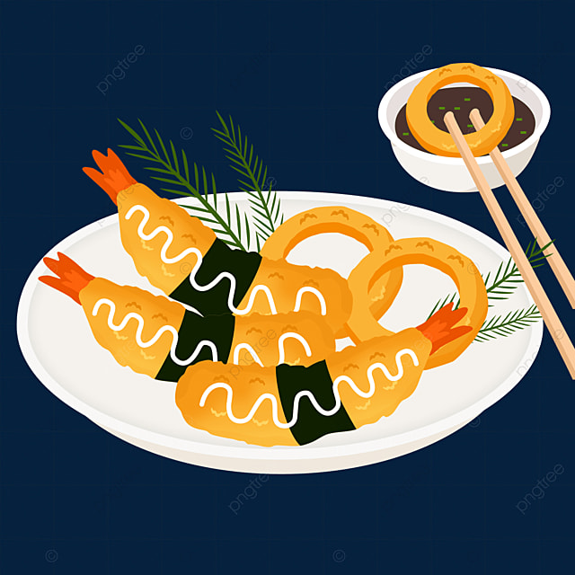 japanese tempura fried onion rings shrimp delicious chopsticks