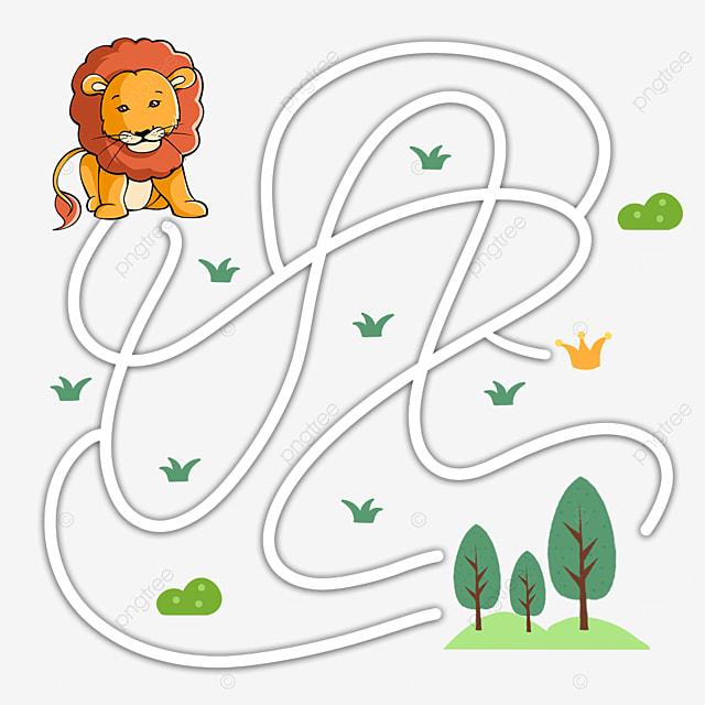 lion animal cartoon maze