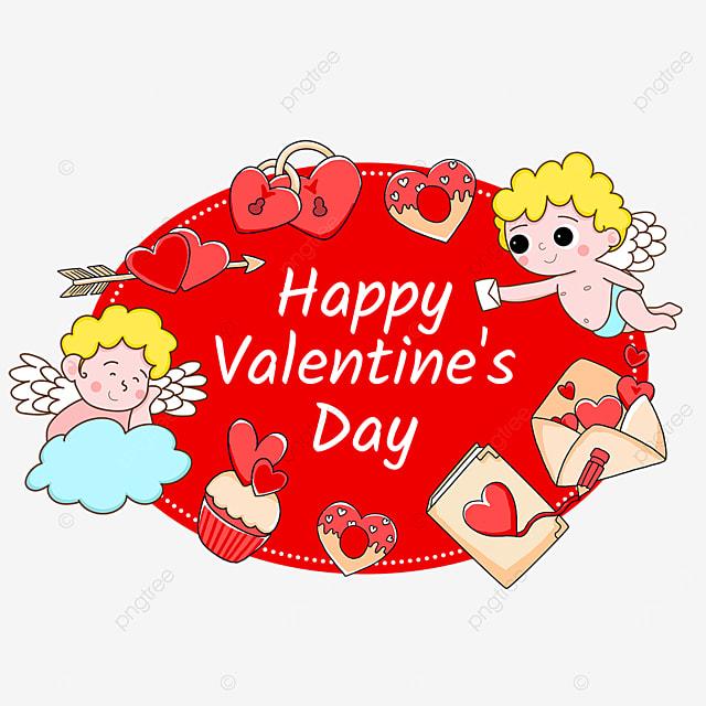 love valentines day cupid envelope red label