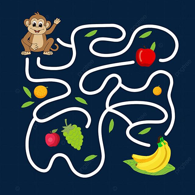 monkey banana cartoon maze line