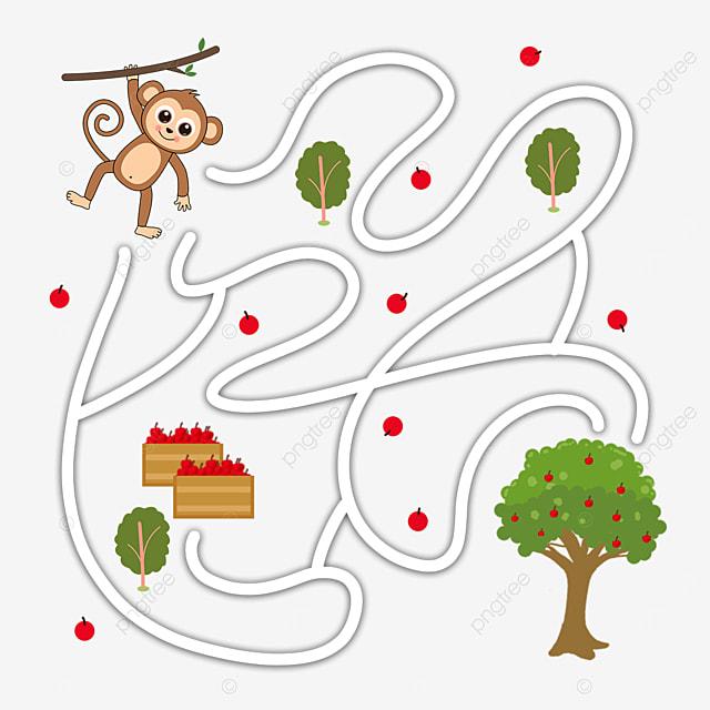 monkey cartoon maze apple tree