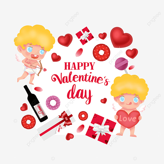 red wine gift box love cupid valentines day label