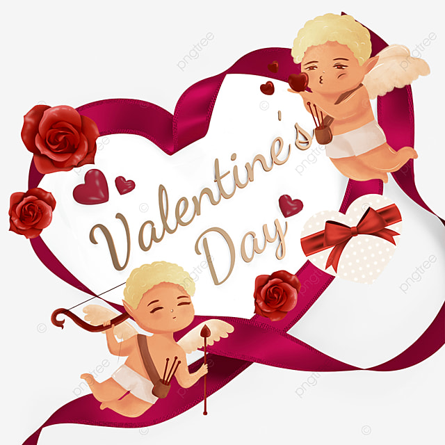 ribbon love cupid valentines day flower label