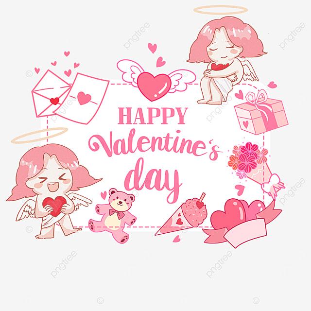 valentines day cupid love gift envelope pink label