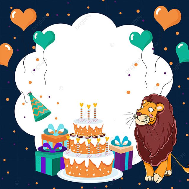 balloon birthday cake lion gift box border