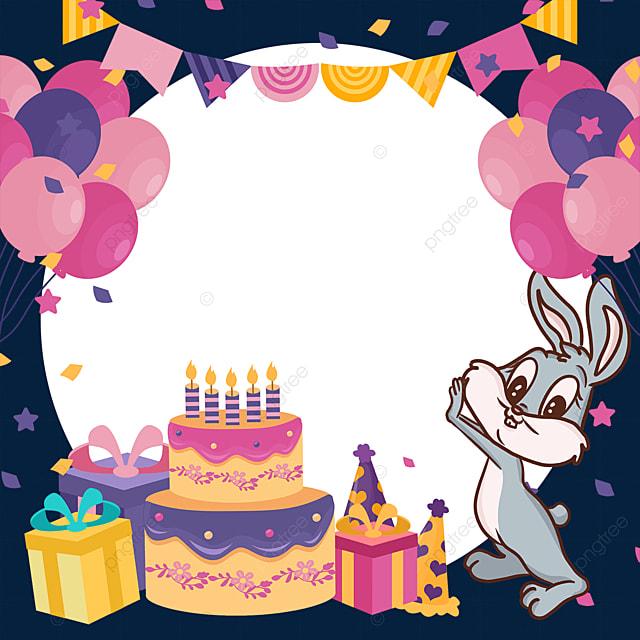 balloon bunting bunny birthday cake gift box border