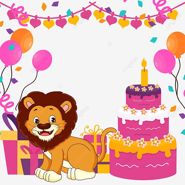balloon bunting lion birthday cake gift box border