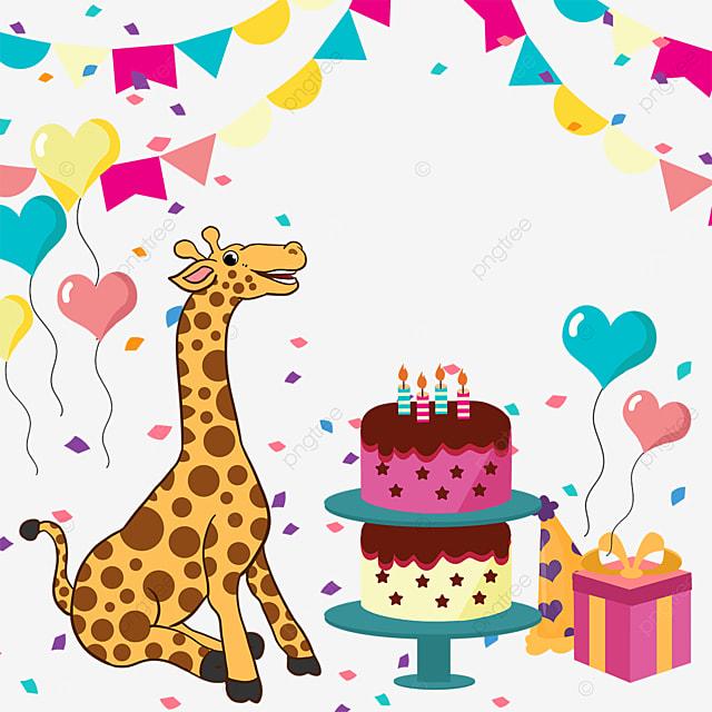 balloon gift box bunting giraffe birthday cake border