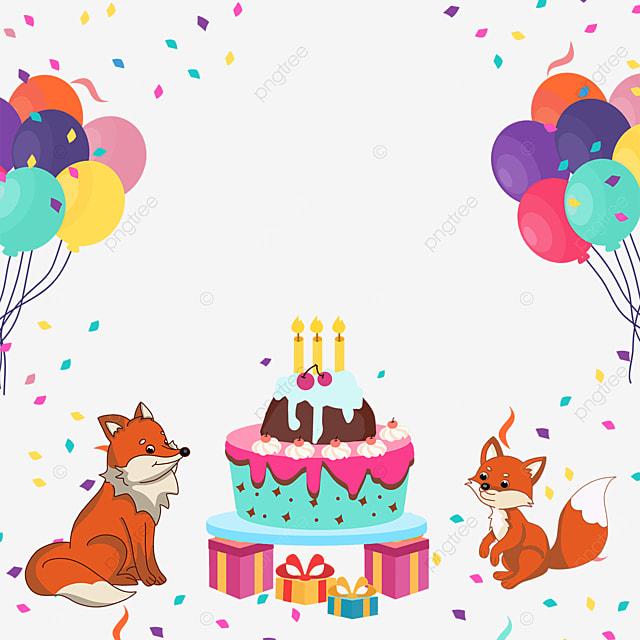 balloon gift box fox birthday cake confetti border