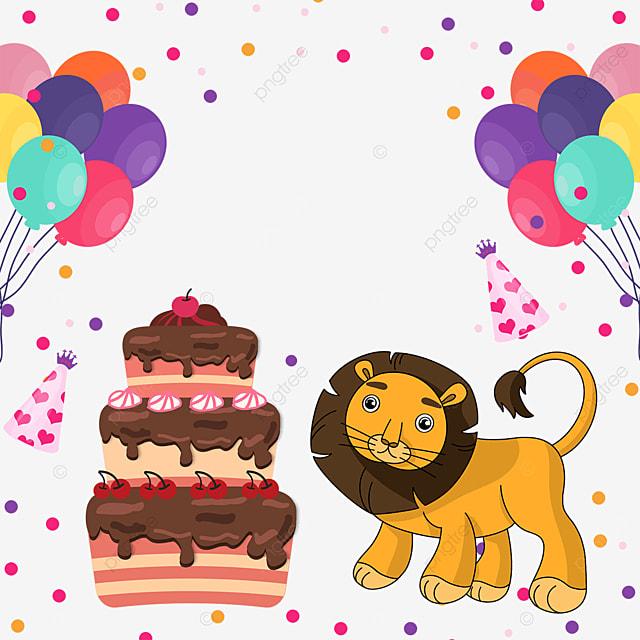 balloon lion birthday cake confetti border