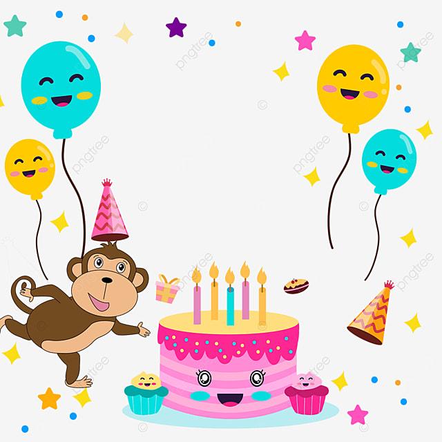 balloon monkey birthday cake stars border