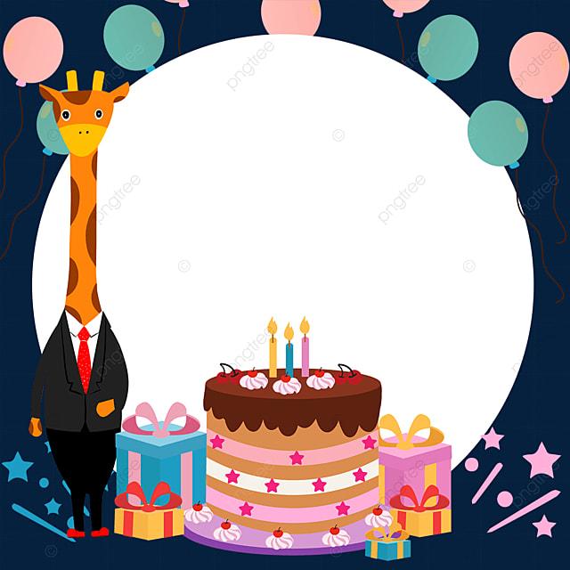 balloon mr giraffe birthday cake border