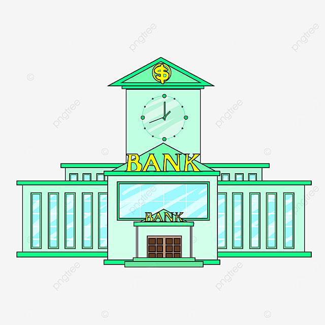 bank clip art cartoon style grass green tall building light blue window bank office building
