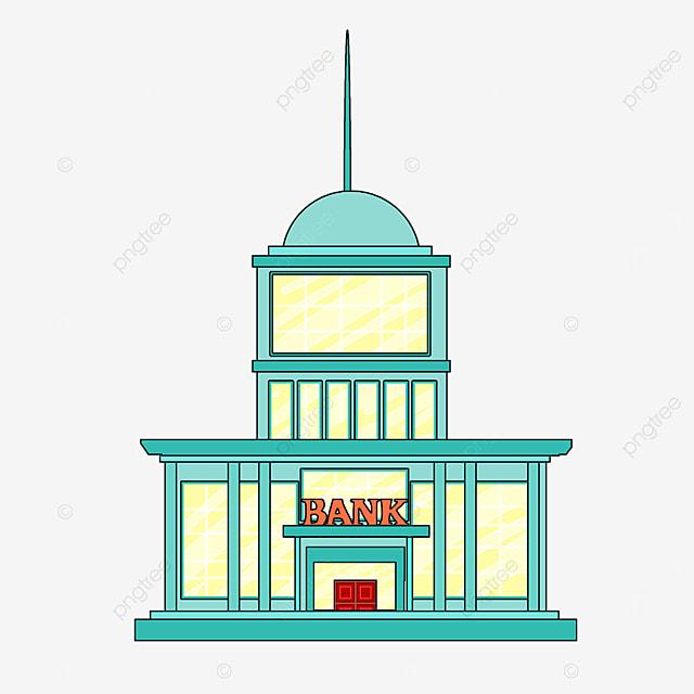 bank clip art cartoon style green building light yellow windows bank high rise office building