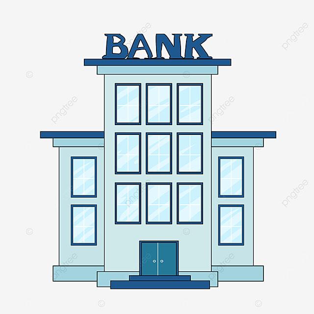bank clip art cartoon style light blue office building ink blue edge bank tall building