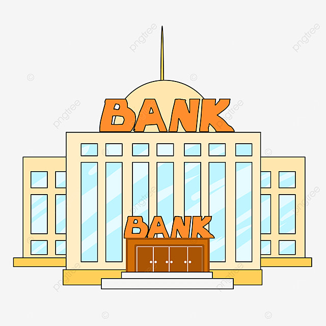 bank clip art cartoon style light yellow building blue window bank office building