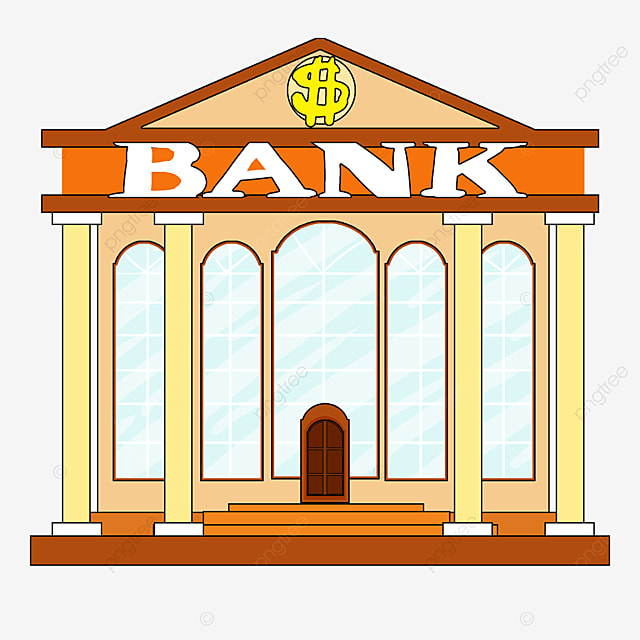 bank clip art cartoon style light yellow building light blue window bank office building
